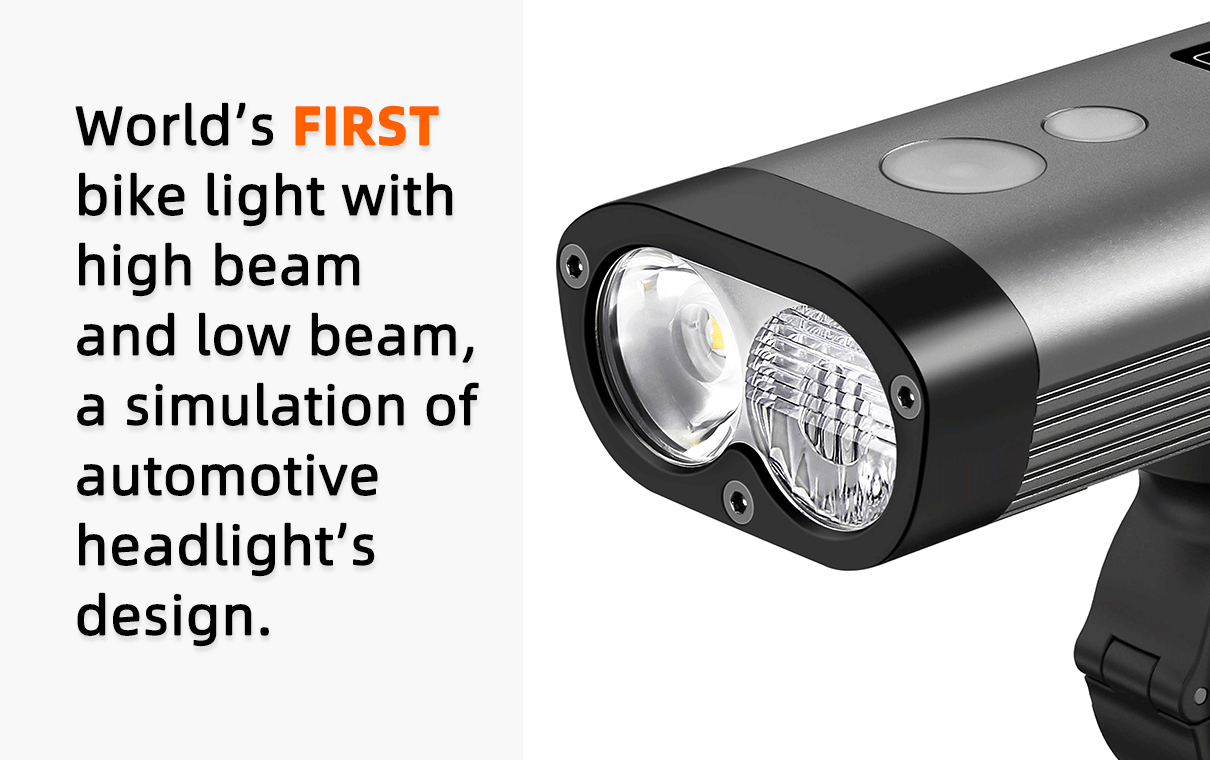 RAVEMEN PR bicycle front light, first bike headlight with high beam and low beam, a sumulation to automotive headlight's design